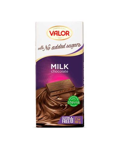 ڤالور، شوكولاتة حليب بدون سكّر مضاف خالي من الجلوتين 100غ