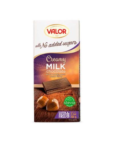 ڤالور، شوكولاتة حليب مع البندق بدون سكّر مضاف خالي من الجلوتين 100غ