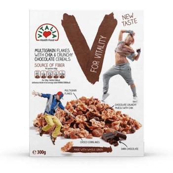 فيتاليا، سيريال رقائق الحبوب بالشوكولاتة الداكنة وبذور التشيا 300غ