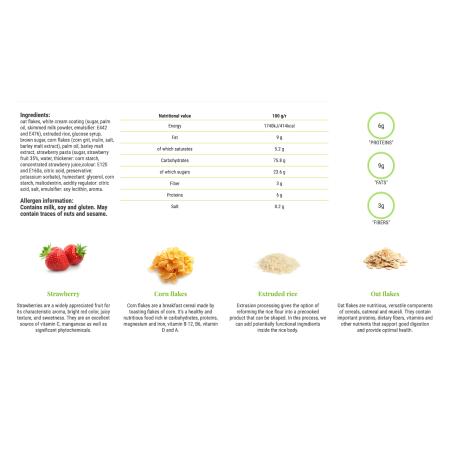 فيتاليا، موسلي بار بالفراولة والكريمة البيضاء 25غ - 18 قطعة