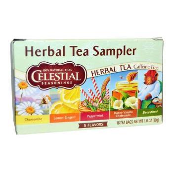 سيليستيال، شاي الأعشاب الطبيعي، الحزمة المنوعة، 18 كيس 30غ