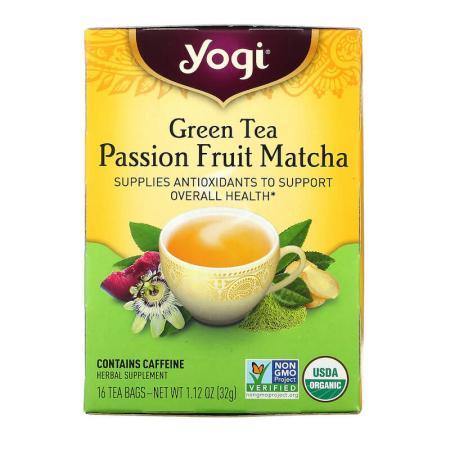 يوغي تي، شاي أخضر باشن فروت ماتشا، 16 كيس