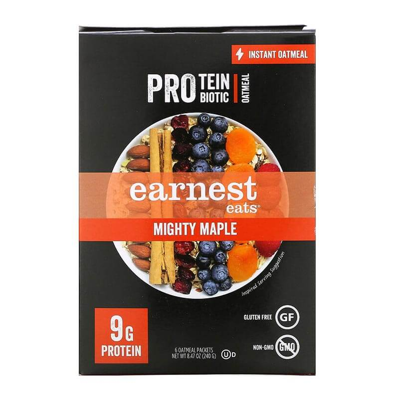 إيرنست إيتس، عصيدة الشوفان عالية البروتين مع البروبيوتيك، شراب القيقب - 6 أكياس 240غ